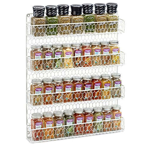 1790 Rustic Chicken Wire Spice Rack - Hanging Spice Rack - 4 Tiers (White)