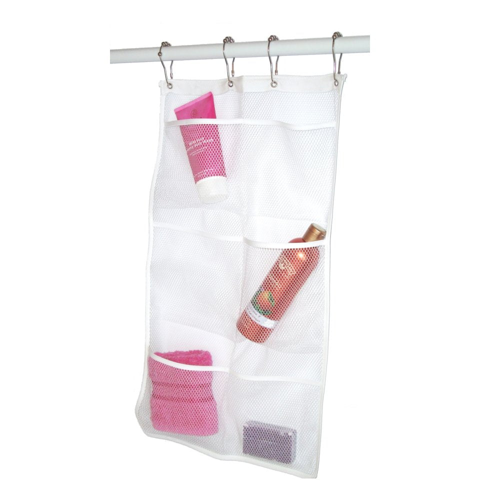 Mesh Hanging Pocket Shower Caddy Organizer. Hang On Shower Curtain Rod / Liner Hooks. By HaNB