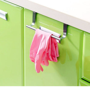 New Storage Holders Accessories Stainless Steel Towel Bar Holder Hook Over the Kitchen Cabinet Cupboard Door Hanging Rack