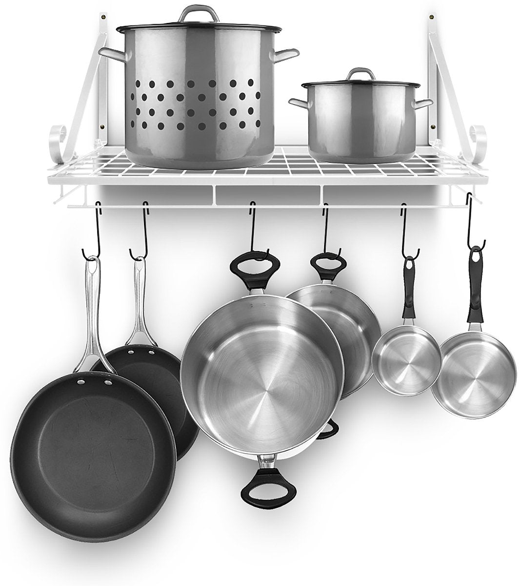 Sorbus Pots and Pan Rack — Decorative Wall Mounted Storage Hanging Rack — Multipurpose Wrought-Iron shelf Organizer for Kitchen Cookware, Utensils, Pans, Books, Bathroom (Wall Rack - White)