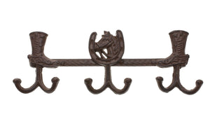 "Cast Iron Country Style Towel Holder / Coat Hanger with 6 Hooks | Decorative Cast Iron Wall Hook Rack | 13.4x1.6x5"" For Coats, Hats, Keys, Towels, Clothes, Aprons etc 