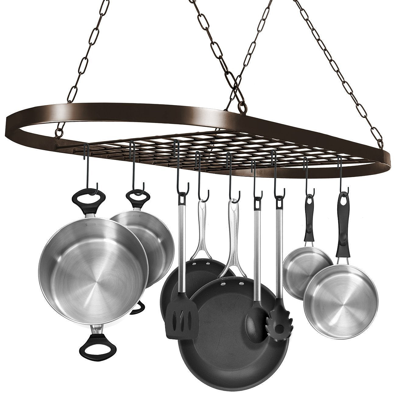 Sorbus Pot and Pan Rack for Ceiling with Hooks — Decorative Oval Mounted Storage Rack — Multi-Purpose Organizer for Home, Restaurant, Kitchen Cookware, Utensils, Books, Household (Hanging Bronze)