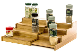 Expendable Spice Rack, Spice Shelf, Spice Storage Organizer 4 Tier Made of Organice Bamboo by Intriom Bamboo Collection
