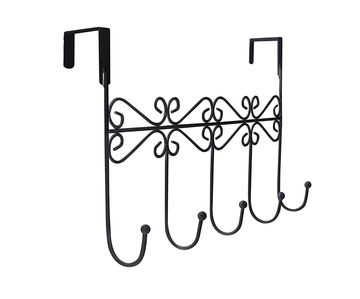 Lebogner Supreme Over the Door 5 Hook Metal Stylish Organizer Rack a Great Storage Addition to Your Home and Office, Great for Jackets, Coats, Bath Towels, Robes, Ties, - Black