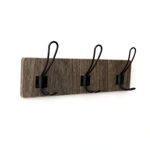 CVHOMEDECO. Vintage Distressed Entryway Wooden Hook Wall Mount or Door Hanger Clothes Coat Hooks Towel Hat Scarf Bags Rack with Triple Metal Iron Hooks. Black Walnut Color, 15-3/4 X 5-3/4 X 3 Inch