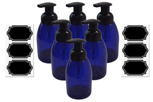 6 Pack Firefly Craft Cobalt Blue Plastic Foaming Bottles with Chalkboard Labels, 14 ounces each