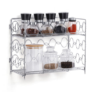 2-Tier Spice Rack Countertop Shelf for Kitchen Spice Jars Storage Organizer Wall-mounted Storage (DB050C)(Silver)
