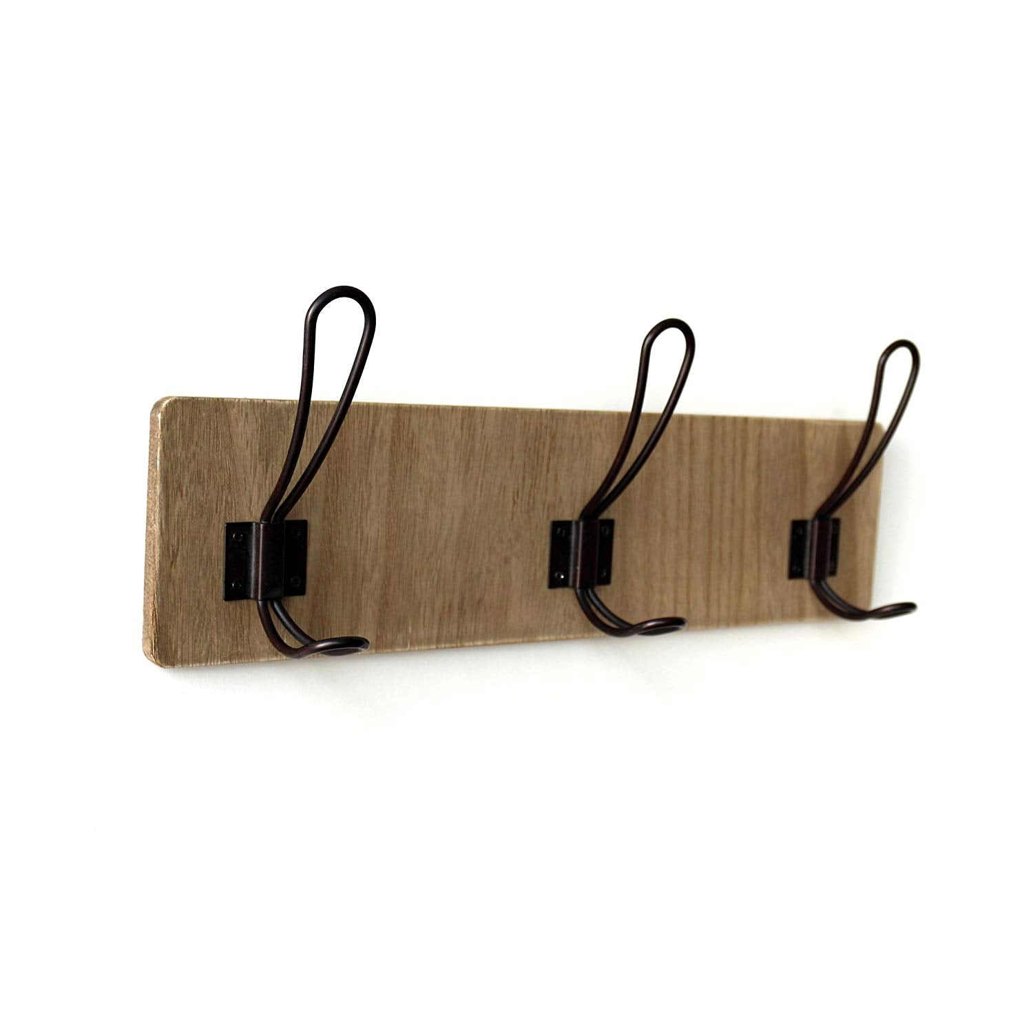 "CVHOMEDECO. Country Distressed Entryway Wooden Hook Wall Mount or Door Hanger Clothes Coat Hooks Towel Hat Scarf Bags Rack with Triple Metal Iron Hooks. Light Walnut Color, 15-3/4"" X 5-3/4"" X 3""D"