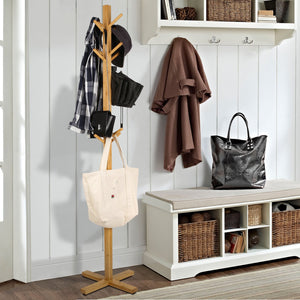 Homfa Bamboo Coat Rack Heavy Duty Free Standing Hat Hanger Holder Hooks Display Stand Hall Tree with 3 Tiers for Clothes Scarves Hats