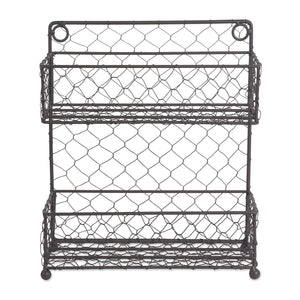 "DII Z01921 2 Tier Vintage Spice Rack, 4.75"" Shelf Depth, Mounted Chicken Wire Organizer for Kitchen Wall, Pantry, or Cabinet, Rustic Antique Finish, Small,"