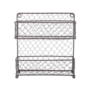 "DII Z01446 2 Tier Vintage Metal Chicken Wire Spice Rack Organizer for Kitchen Wall, Pantry, Cabinet or Counter, Small/9.5"" x 2.25"" x 10"", Rustic"