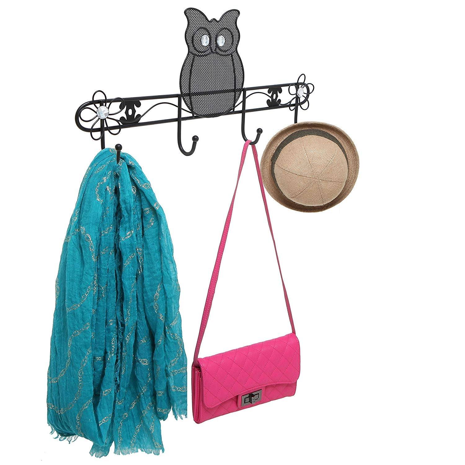 Owl & Flowers Design Black Metal Wall Mounted Wire Mesh Coat Rack / 4 Hook Hanging Storage Organizer