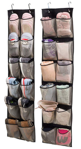 KIMBORA Over Door Organizer Hanging Shoe Storage for Narrow Closet Door,2 Pack 12 Large Mesh Pockets
