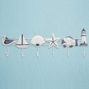 Decorative Nautical Seaside Design Wood & Metal Mounted Garment Hanger 6 Coat Hooks Wall Rack