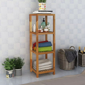 Bathroom Shelf Solid Walnut Wood 36x36x112 cm