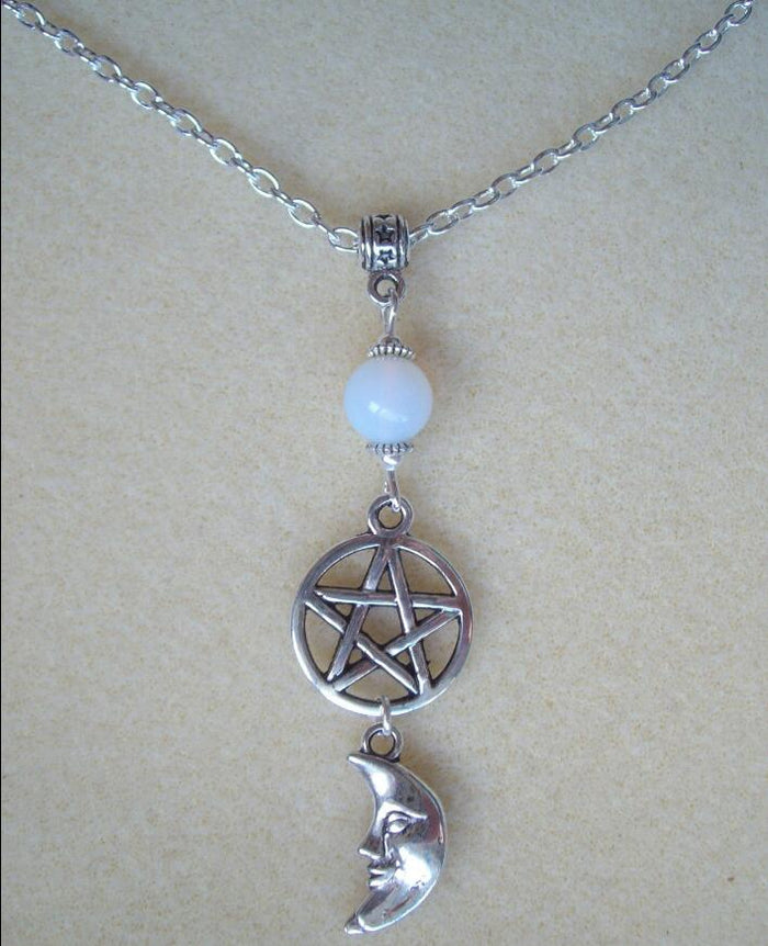 Moonstone Pentagram and Moon Goddess Necklace