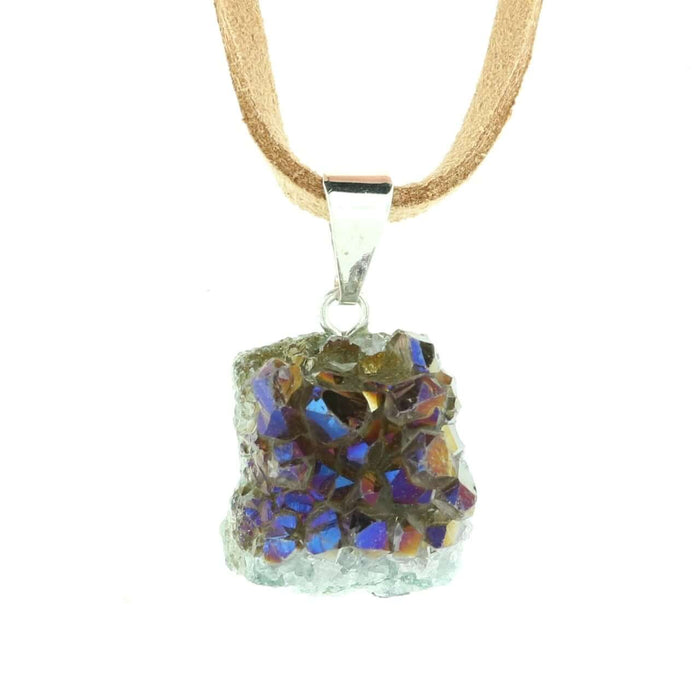 Titanium Aura Amethyst Cluster Necklace On Suede Cord