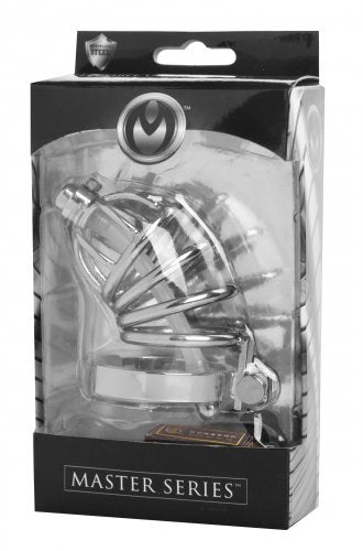 Stainless Steel Chastity Cage With Silicone Urethral Plug