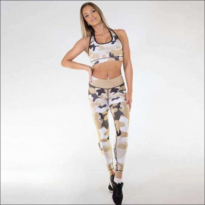 2e24a56658095 Womens Fitness Suits Crop Tank Workout Camoufalge Printed Top And Legging –  Tiaga Mall