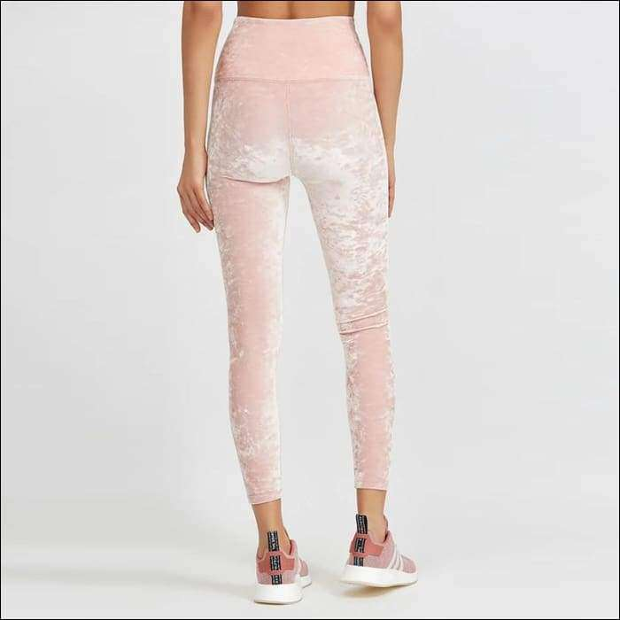 f66c0f477e6b9 Womens Pink Fitness Suits Cropped Tank Top Workout Velvet Bra And Legging –  Tiaga Mall
