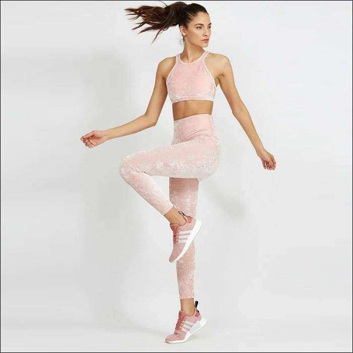 3f411fc3d8336 ... Womens Pink Fitness Suits Cropped Tank Top Workout Velvet Bra And  Legging. Next slide