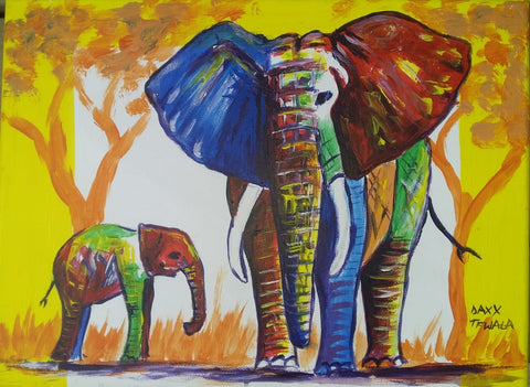 DAXX TFWALA ART - Elephant and Baby Painting, Alternate - QURATOR™ Market