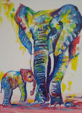 DAXX TFWALA ART - Elephant and Baby Painting - QURATOR™ Market