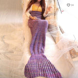 SPENDARELLA Mermaid Tail Acrylic Knitted Throw Blanket - Purple Blend - QURATOR™ Market
