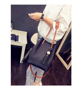 Casual Tassel Women Bag Litchi PU Leather