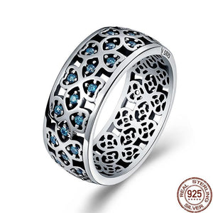 Sterling Silver Petals of Love Sweet Clover Blue CZ Finger Ring