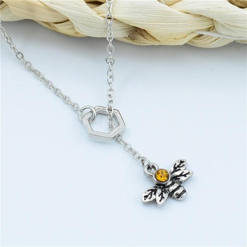"""Honey Bee & Comb"" Pendant Necklace"