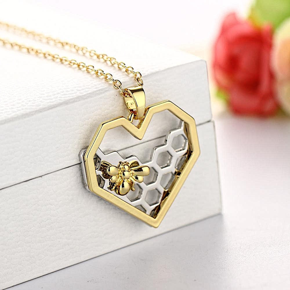 """Honeycomb Heart"" Bee Necklace"
