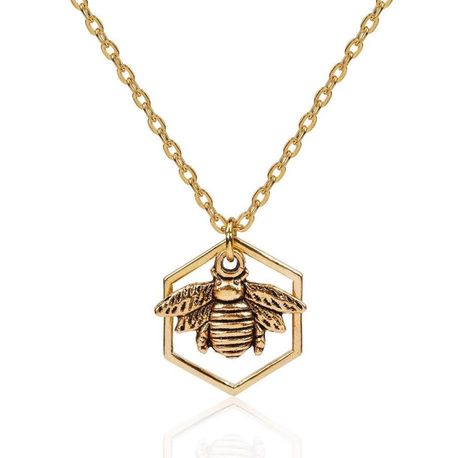 """Hexa-comb"" Bee Necklace"