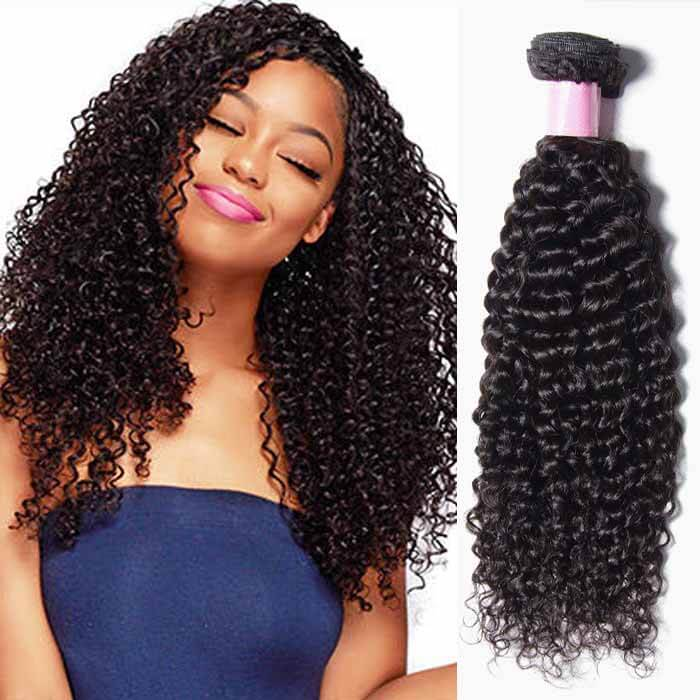1 Bundle Curly Remy Human Hair Weaves