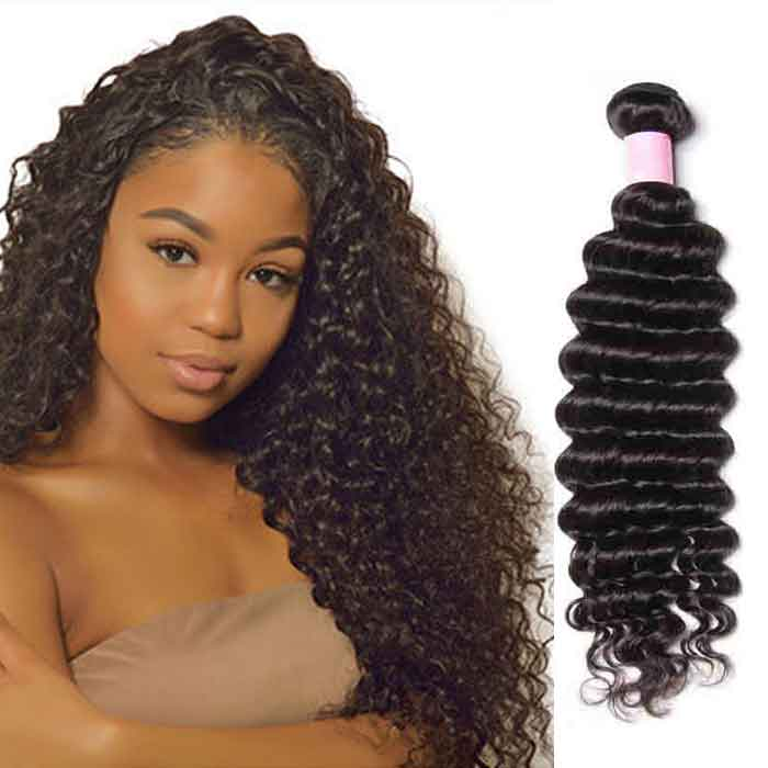 1 Bundle Deep Wave Remy Human Hair Weaves