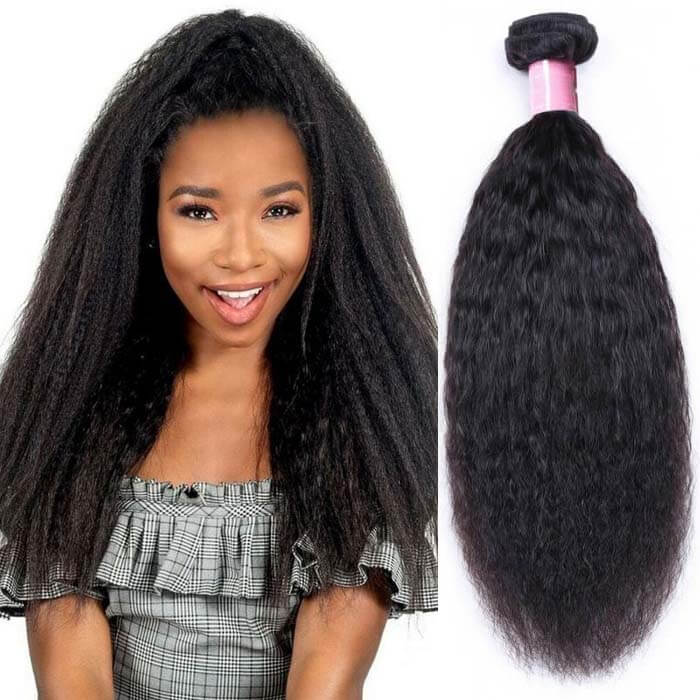 1 Bundle Kinky Straight Remy Human Hair Weaves