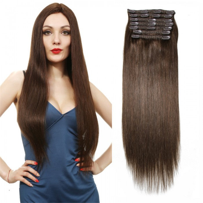 Medium Brown Hair Extensions Clip In Hair 8Pcs/set