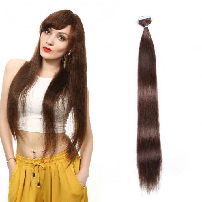 Straight Tape In Hair Extensions Medium Brown