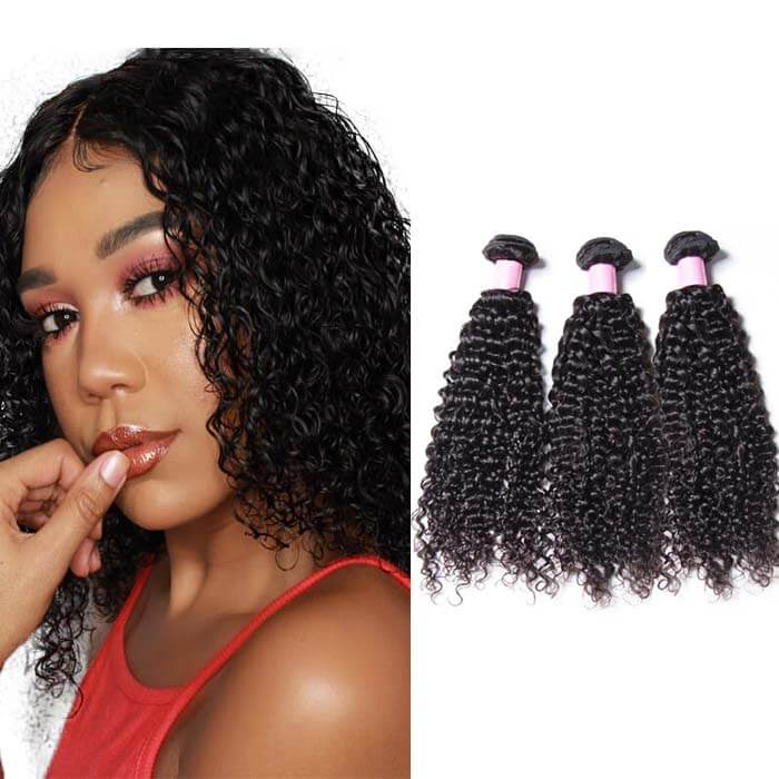 3 Bundles Curly Remy Human Hair Weaves