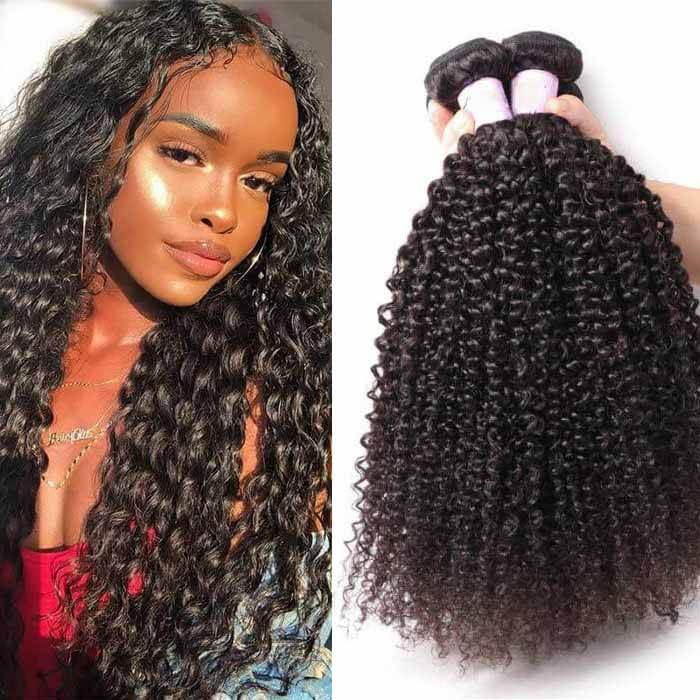 3 Bundles Kinky Curly Remy Human Hair Weaves