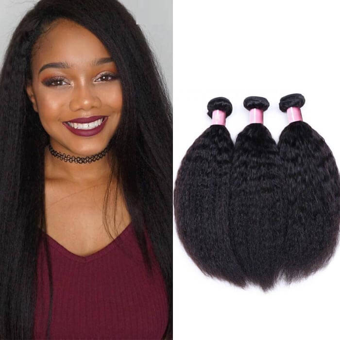 3 Bundles Kinky Straight Remy Human Hair Weaves