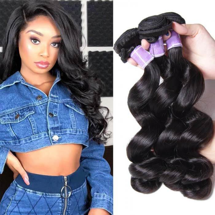 3 Bundles Loose Wave Remy Human Hair Weaves