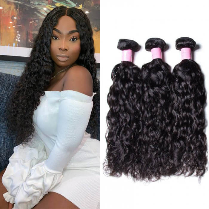 3 Bundles Water Wave Remy Human Hair Weaves