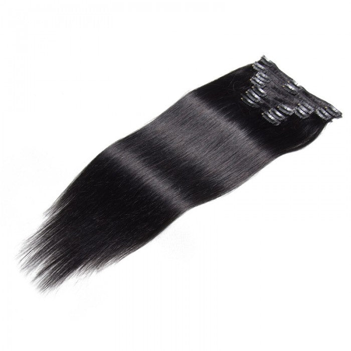 Jet Black Clip In Hair Extensions Virgin Hair 8Pcs/set