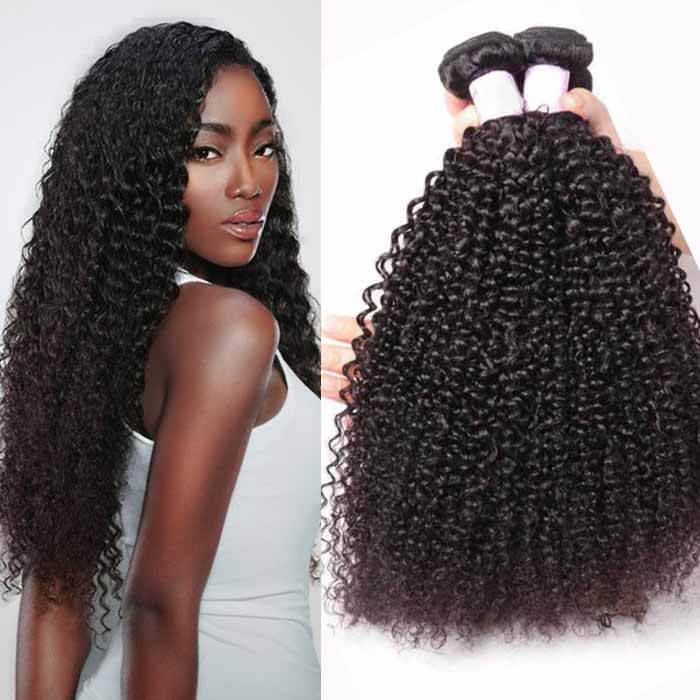 4 Bundles Kinky Curly Remy Human Hair Weaves