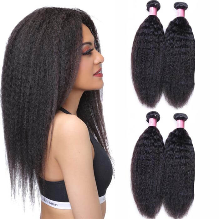 4 Bundles Kinky Straight Remy Human Hair Weaves