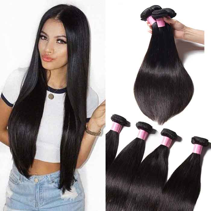 4 Bundles Straight Remy Human Hair Weaves