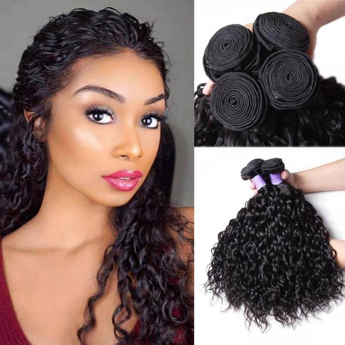 4 Bundles Water Wave Remy Human Hair Weaves