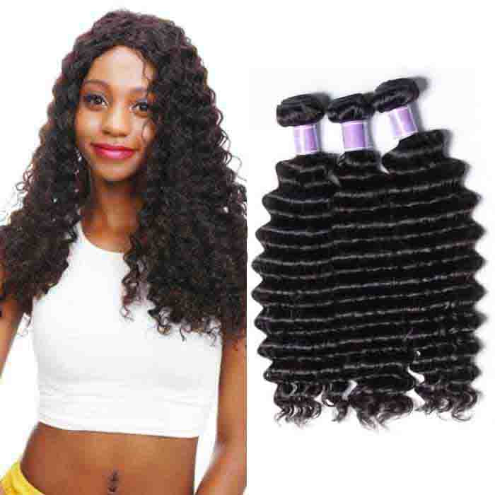 3 Bundles Deep Wave Remy Human Hair Weaves