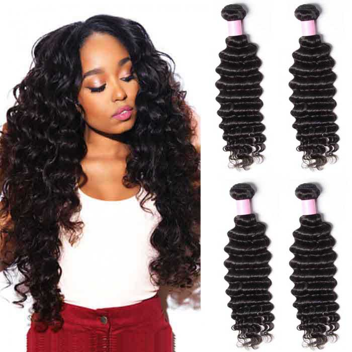 4 Bundles Deep Wave Remy Human Hair Weaves
